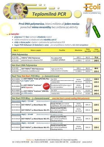 Aktuálne ceny Solis produktov (PCR a Real Time) - ecoli.sk