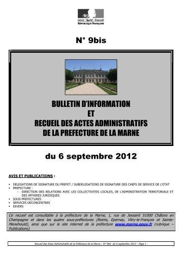 Recueil 9bis-2012 du 6 septembre - 2,34 Mb - Préfecture de la Marne