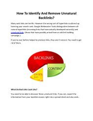 How To Identify And Remove Unnatural Backlinks?