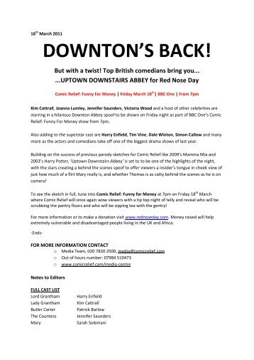 DOWNTON'S BACK! - Comic Relief