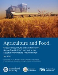 Agriculture and Food CI/KR Sector Specific Plans - The University of ...