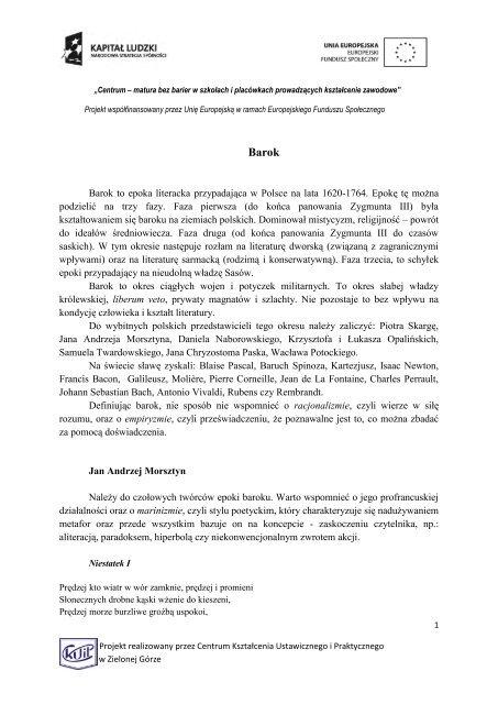 Barok To Epoka Literacka Przypadajäca W Polsce Na Lata 1620