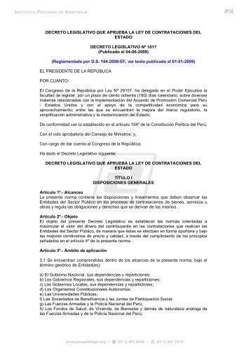 Ley de Contrataciones del Estado - Instituto Peruano de Arbitraje