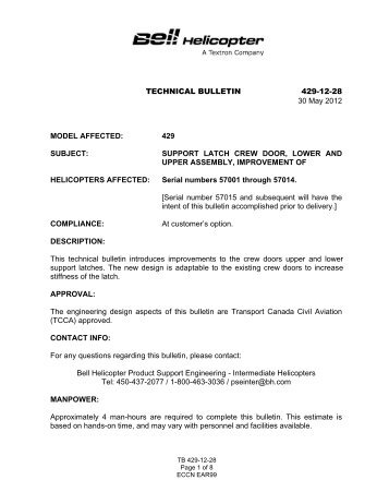 TECHNICAL BULLETIN 429-12-28 30 May 2012 MODEL AFFECTED