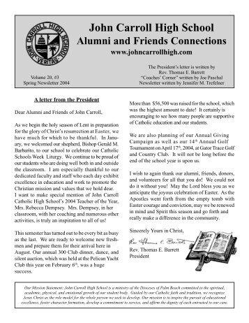Spring 2004 Alumni Newsletter - John Carroll Catholic High School