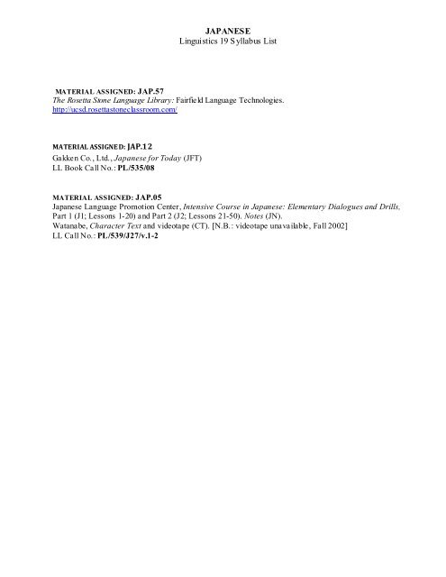 JAPANESE (Rosetta Stone) - Linguistics