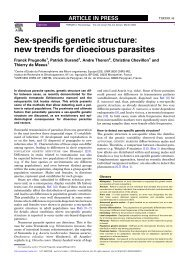 Sex-specific genetic structure: new trends for dioecious parasites - IRD