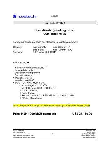 Coordinate grinding head KSK 1000 MCR - Novatech Inc.