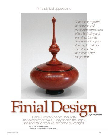 Finial Design Article - Cindy Drozda