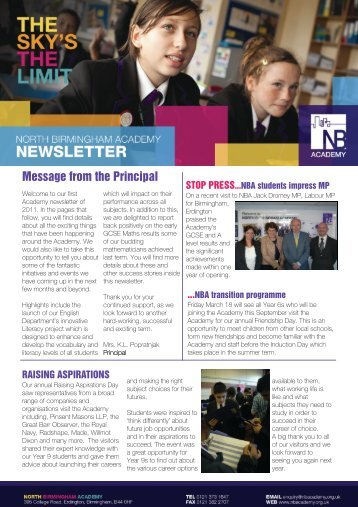 NBA Newsletter - Feb 2011 - North Birmingham Academy