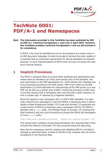 TechNote 0001: PDF/A-1 and Namespaces