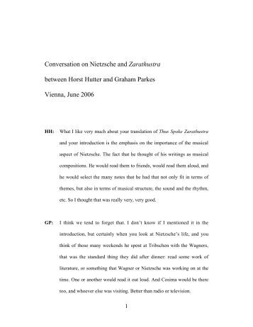 Conversation on Nietzsche and Zarathustra ... - Nietzsche Circle