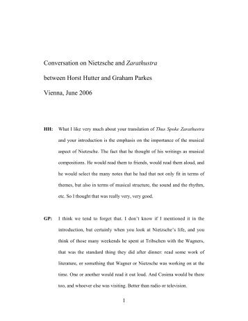 Conversation on Nietzsche and Zarathustra ... - Nietzsche Circle