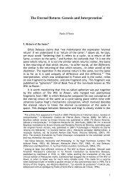 The Eternal Return: Genesis and Interpretation - Nietzsche Circle