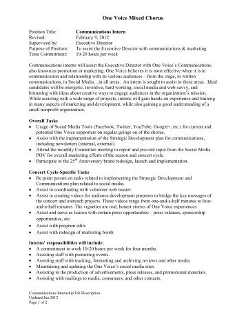 Community Outreach Intern Job Description