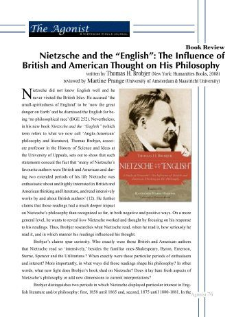 "Nietzsche and the ""English"": The Influence of ... - Nietzsche Circle"