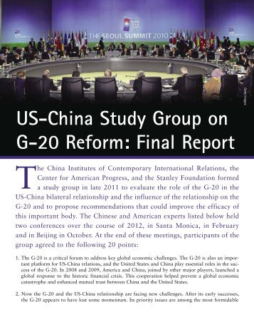US-China Study Group on G-20 Reform: Final Report - The Stanley ...