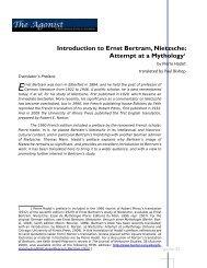 Introduction to Ernst Bertram, Nietzsche: Attempt ... - Nietzsche Circle
