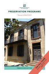 PRESERVATION PROGRAMS - Preservation Society of Charleston
