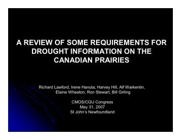 a review of some requirements for drought information on the ...