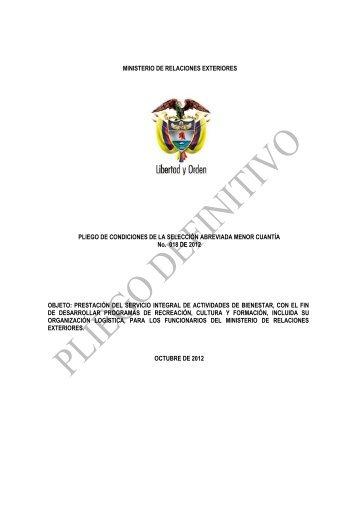 Pliegos Definitivos - Ministerio de Relaciones Exteriores