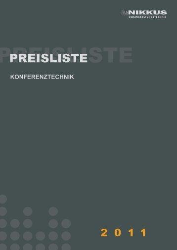Konferenztechnik Preisliste - NIKKUS Veranstaltungstechnik GmbH