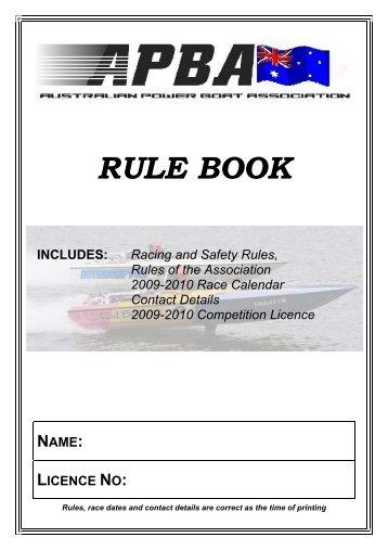 RULE BOOK - Australian Power Boat Association