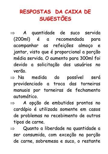 RESPOSTAS DA CAIXA DE SUGESTÕES