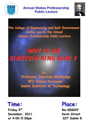 Annual Stokes Lecture - DIT Update - Dublin Institute of Technology