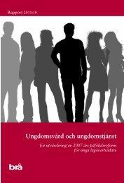 Ungdomsvård och ungdomstjänst - Brottsförebyggande rådet