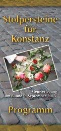 Stolpersteine für Konstanz Stolpersteine für Konstanz Programm