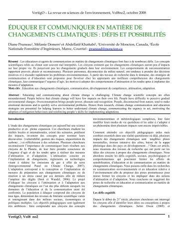 éduquer et communiquer en matière de changements climatiques