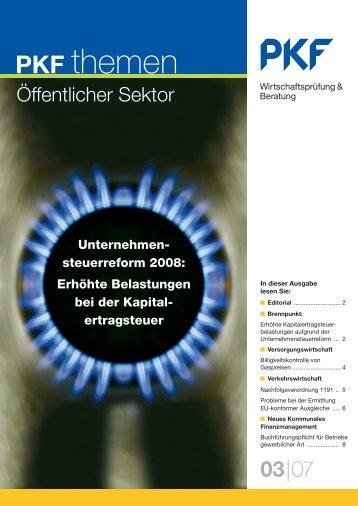 Heft3 09/2007 Unternehmensteuerreform 2008 - PKF Fasselt Schlage