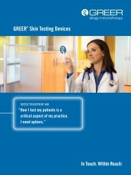 GREER® Skin Testing Devices Brochure