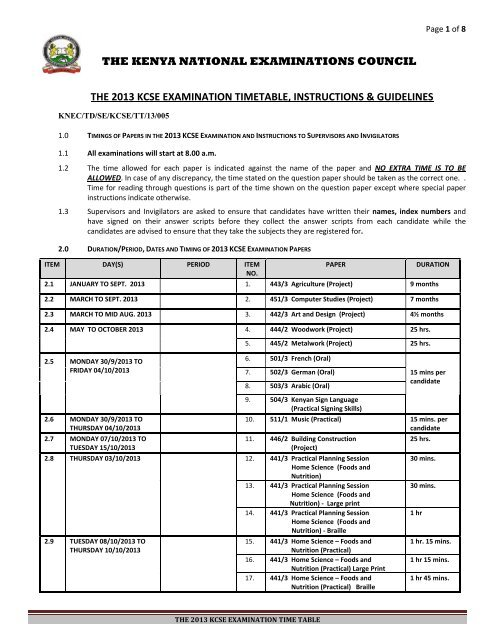 2013 kcse examination timetable instructions & guidelines