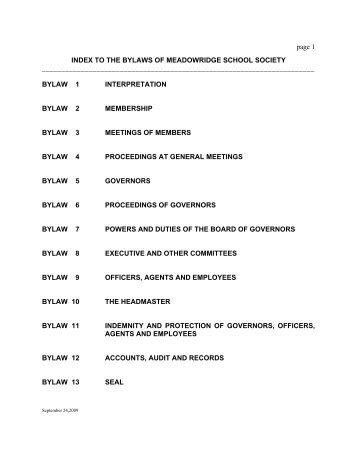 Meadowridge School Society Bylaws