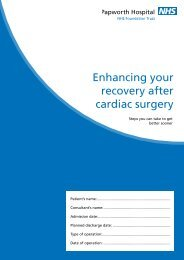 Enhancing your recovery after cardiac surgery - Papworth Hospital