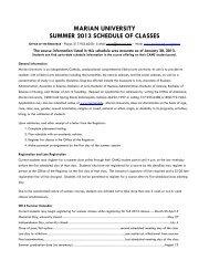 Summer 2013 Registration Information - Marian University