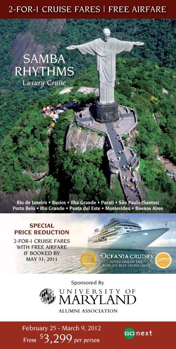 2-for-1 cruise fares | free airfare - University of Maryland