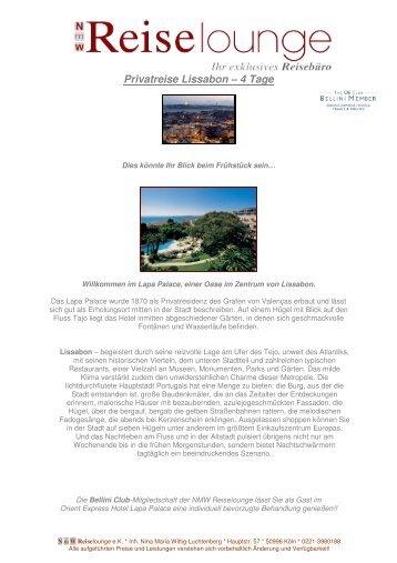Privatreise Lissabon – 4 Tage - NMW Reiselounge