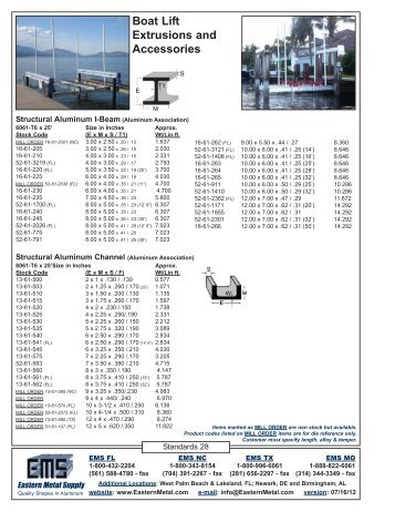 Boat Lift Extrusions & Accessories - Eastern Metal Supply