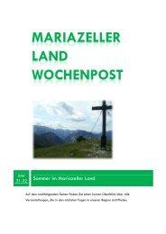 Mariazeller Land Wochenpost KW 31-32 - Mariazellerland Blog
