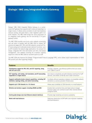 Dialogic® IMG 1004 Integrated Media Gateway - MessageNet