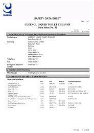 CLEENOL LIQUID TOILET CLEANER Data Sheet No. J2 - Part Info