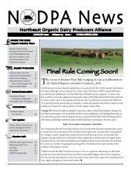 January 2010 - Northeast Organic Dairy Producers Alliance - NODPA