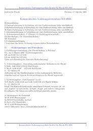 Kommentiertes Vorlesungsverzeichnis WS 0708 - Institut fuer Physik