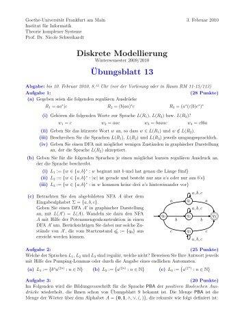 Blatt 13 - Theorie komplexer Systeme - Goethe-Universität