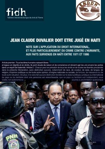 JEAN CLAUDE DUVALIER DOIT ETRE JUGé EN HAITI - FIDH