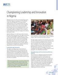 Championing Leadership and Innovation in Nigeria - RTI International