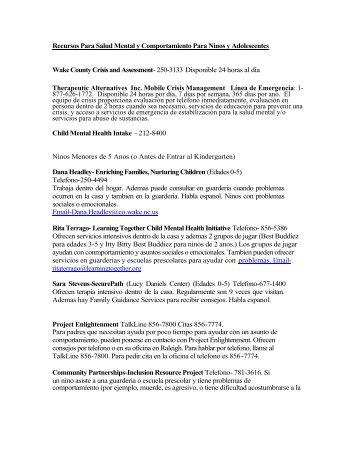 Recursos Para Salud Mental y Comportamiento Para ... - CCWJC